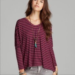 We the Free People Top Oversized Trapeze Striped